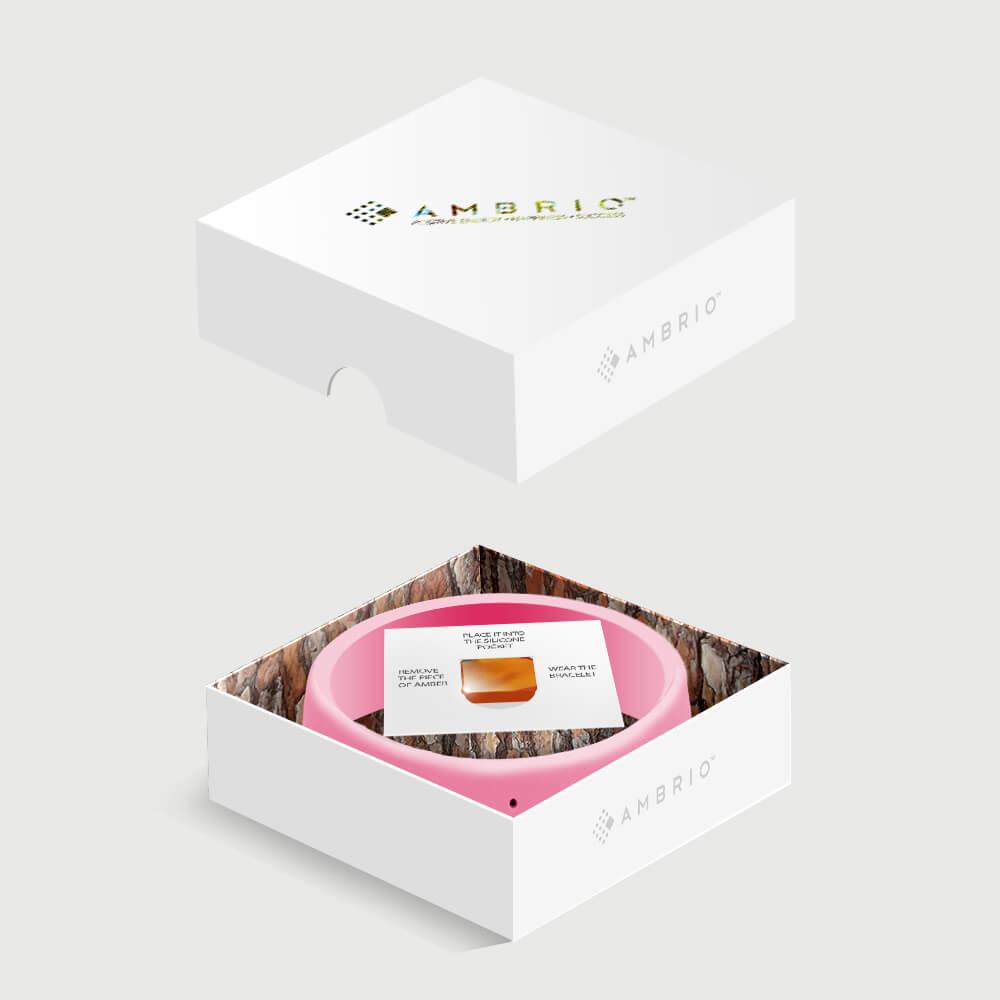 Rožinės AMBRIO apyrankės pakuotė