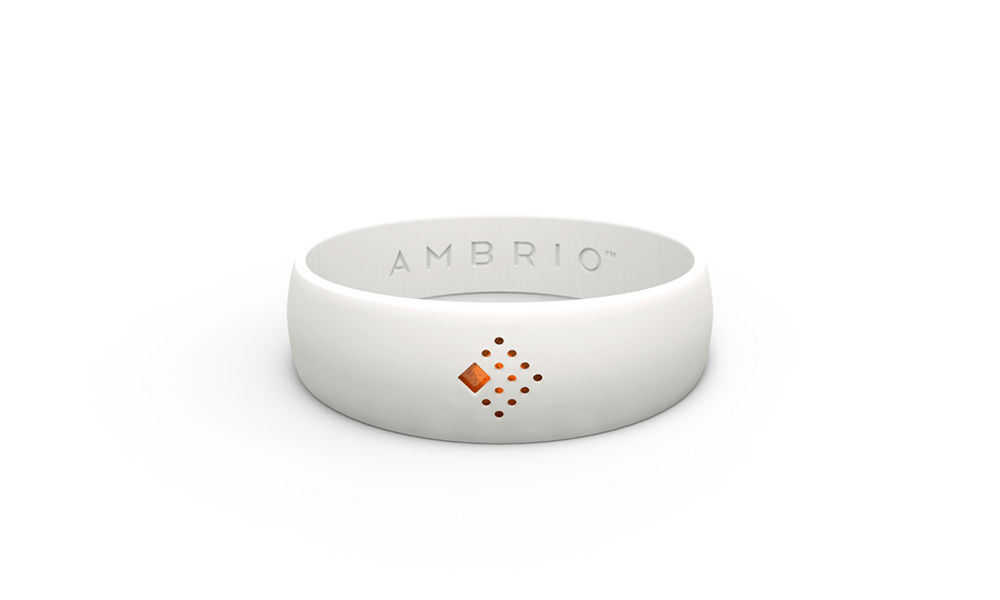 The horizontal view of white AMBRIO bracelet