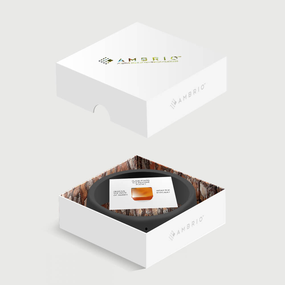 The packaging of black AMBRIO bracelet