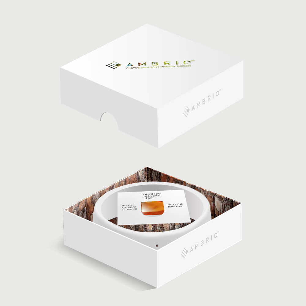The packaging of white AMBRIO bracelet