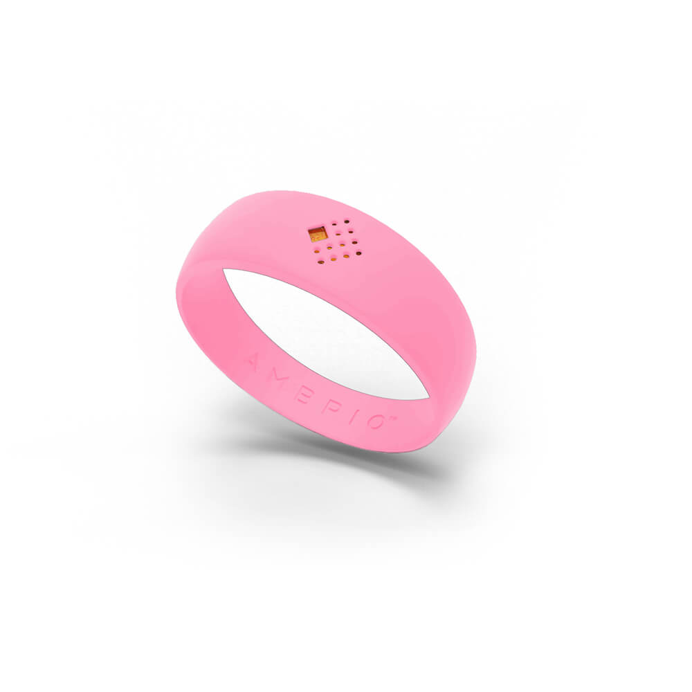 Frontal view of a pink AMBRIO bracelet