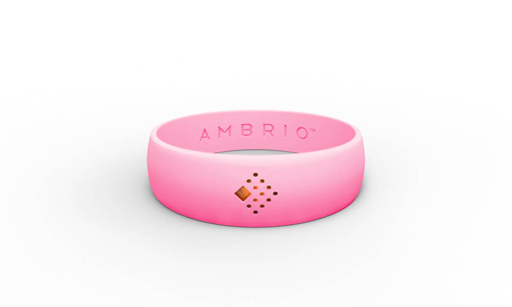 Horizontal view of a pink AMBRIO bracelet