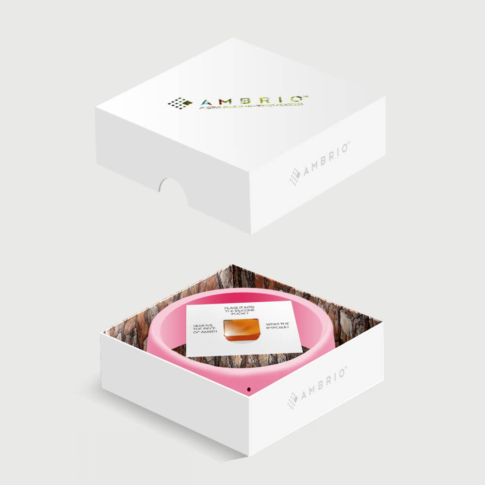 Package view of a pink AMBRIO bracelet